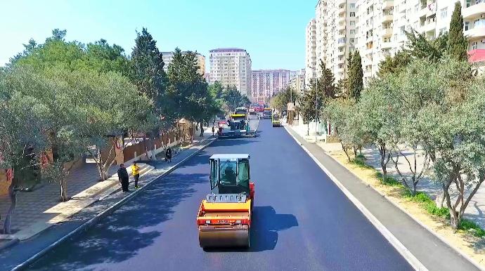 Xətai rayonu Xudu Məmədov küçəsi təmir edilir